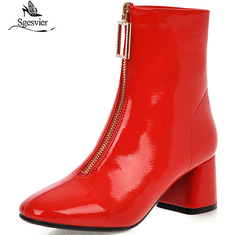 Sgesvier 2020 patent leather shiny crystal front zipper tight boots woman footwear red ankle boots for women shoes Size 48 <font><b>G731</b></font> image