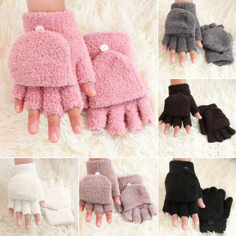 Children Gloves  Soft Coral Fleece Flip Cover Half Finger Gloves Winter Warm Thicken Mittens Cute Men Women Gloves Pink