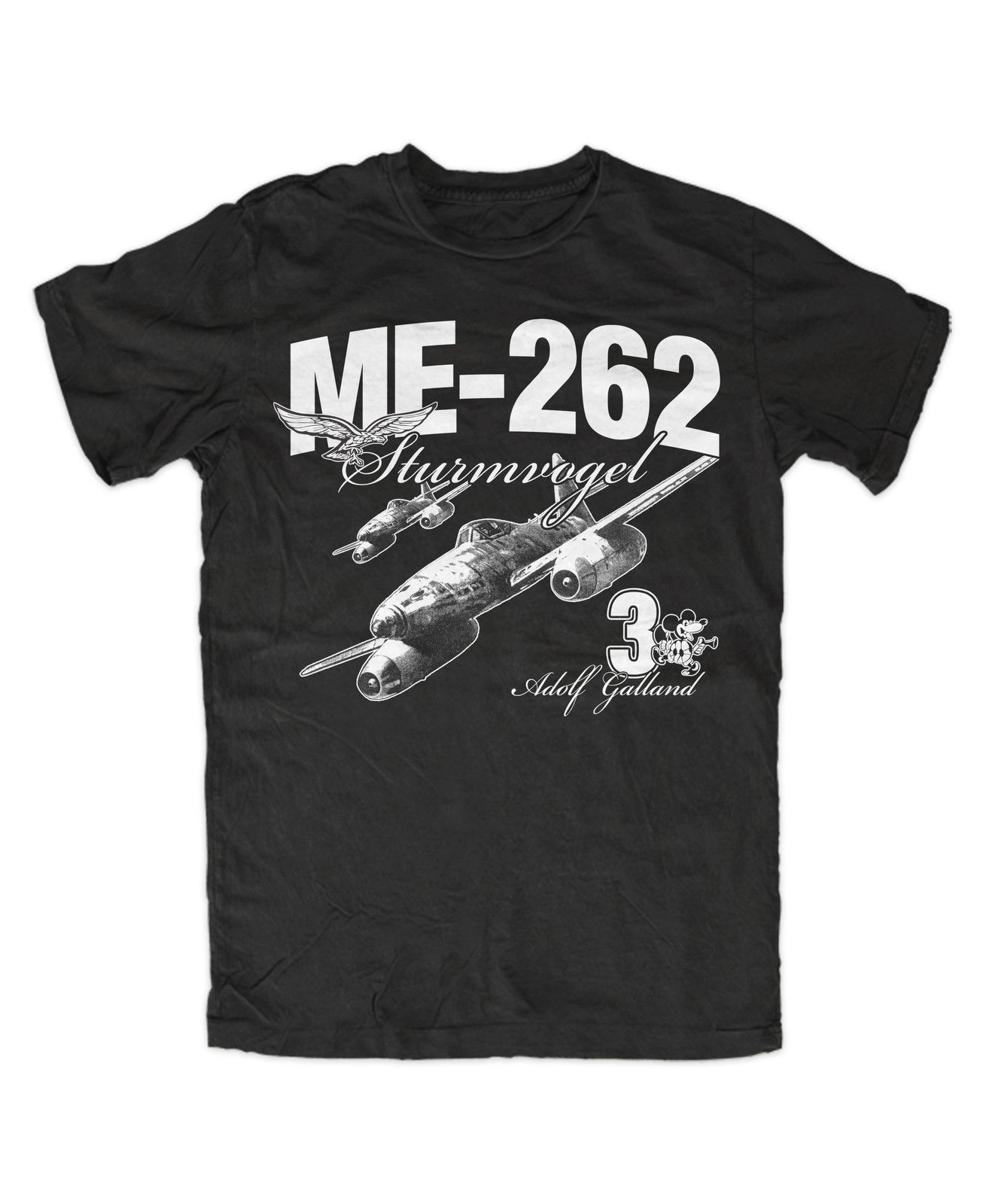 T-Shirt Summer Novelty Cartoon T Shirt ME-262 Galland T-Shirt BW Legende Flieger Ass Movie Shirt image