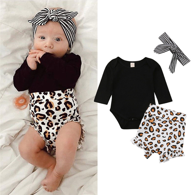 Newborn Spring Summer Clothing Set Kid Infant Baby girl Black Full Sleeve Top Bodysuit Print High Waist Shorts Striped Headband