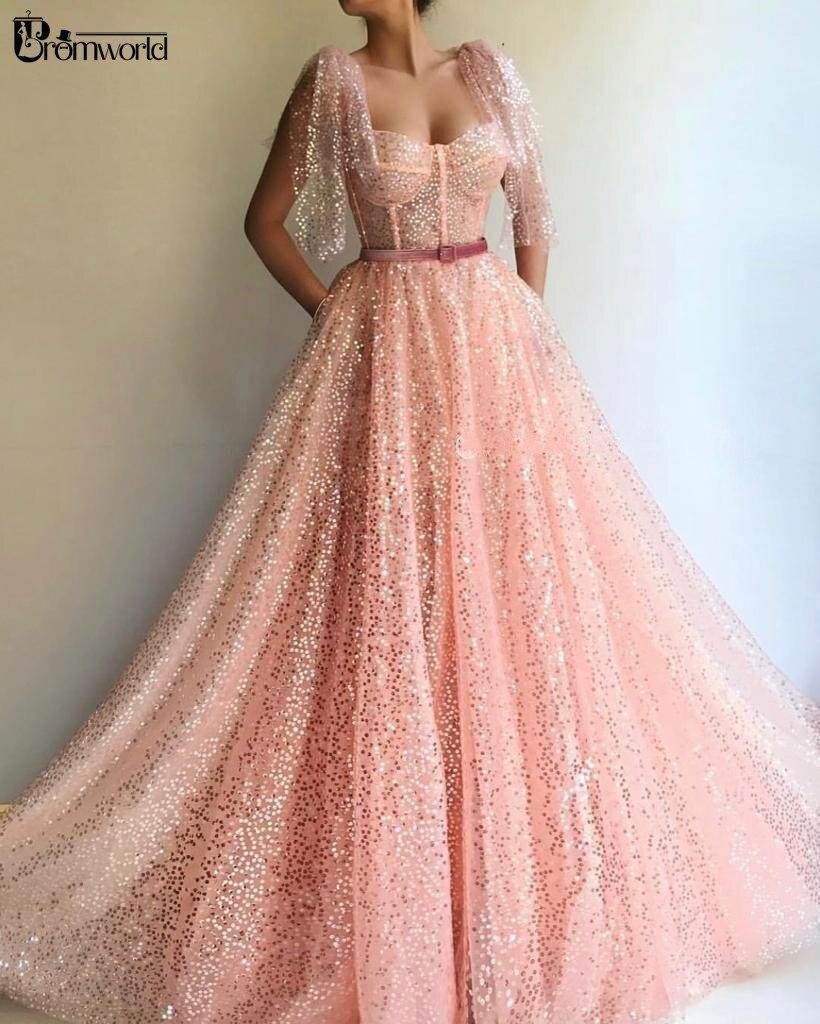 Paillettes scintillantes chérie rose musulman robe de soirée formelle 2019 Dubai Cap manches robes de bal longue robe de soirée Abendkleider