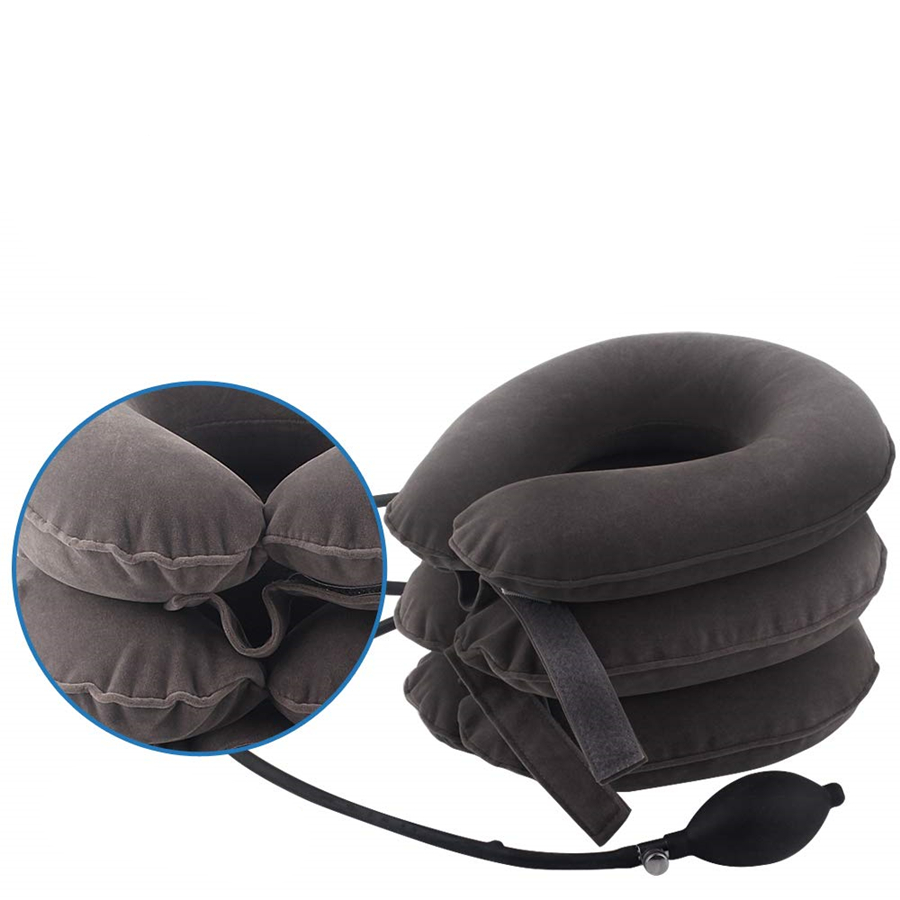 Three - Layer Portable Air Inflatable Cervical Neck Traction Collar Pillow Brace For Head Back Shoulder Pain Reliever Instrument