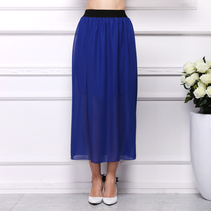Plus Size Elegant Women Long Chiffon Skirt Elastic Waist Mesh Pleated White Blue Skirt Sexy Loose Large Size Clothes 21 Colors