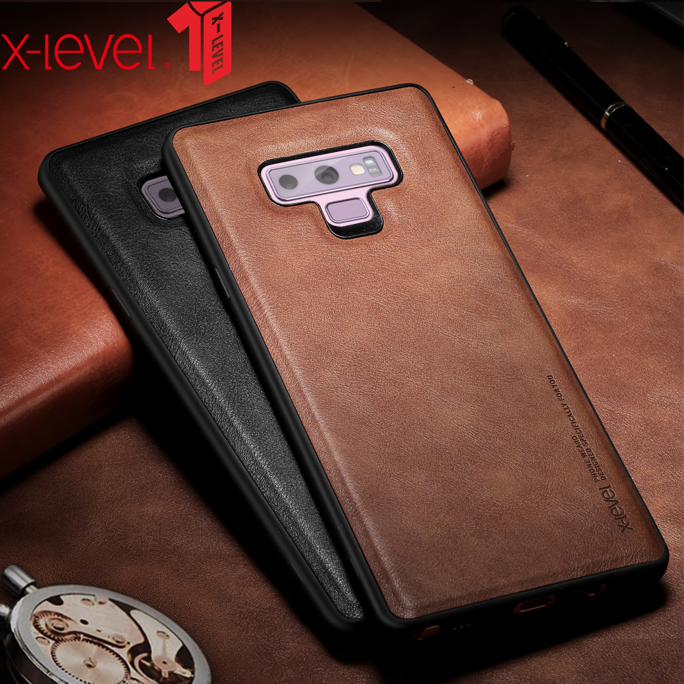 X-Level Leather Case For Samsung Note 9 Soft Silicone Edge Shockproof Back Phone Cover For Samsung Galaxy Note 9 Note9 Case