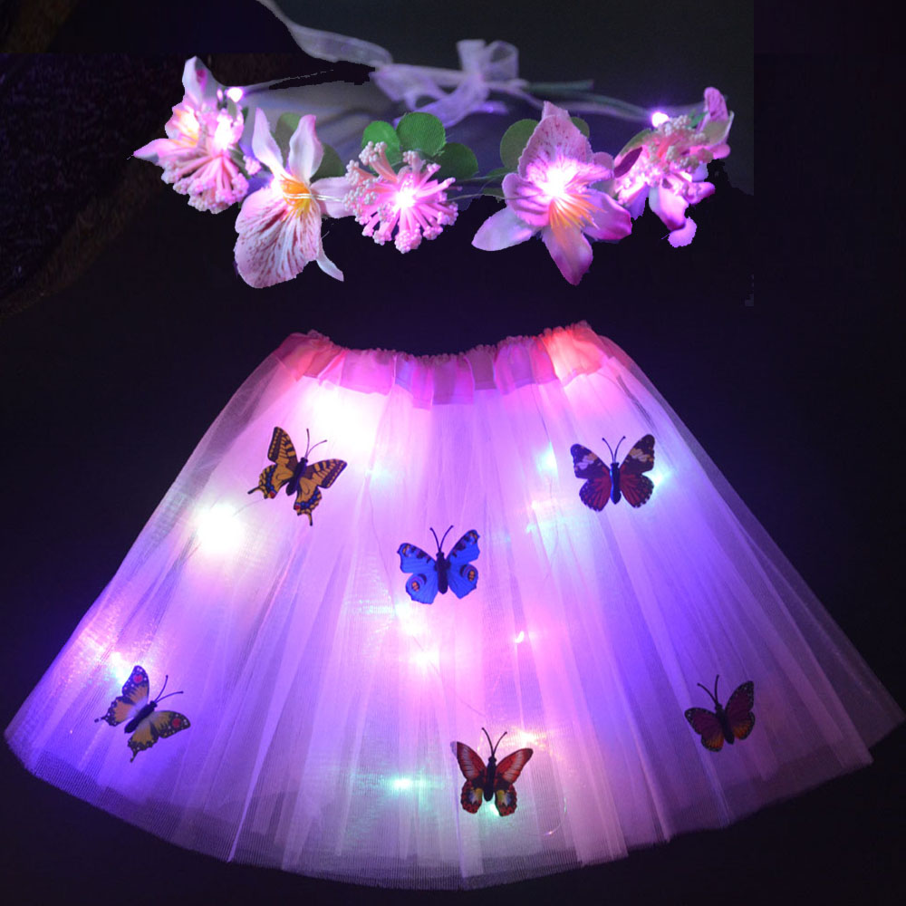 Женские Фея дни рождения, для девочек платье-пачка свечение, повязка на голову с цветком, венок праздничное нарядное бальное мини-юбок, свад...