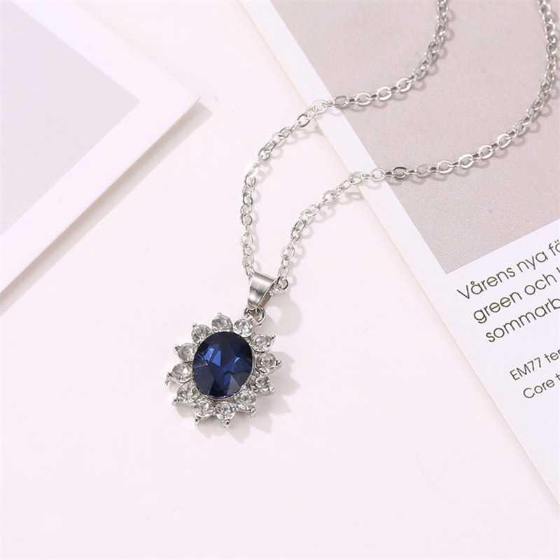 Sonne Blume König Prinzessin Zirkon Zwei-stück Anzug Hochzeit Blau Stein Ohrringe Halskette Ring Schmuck-Set Großhandel