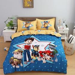 Paw Patrol nuevo juego de cama de lija de dibujos animados para adultos de niños Juego de 3/4 piezas de edredón cubierta sábana plana y funda de almohada