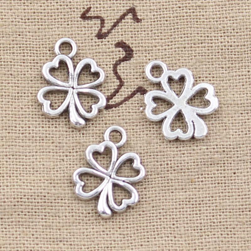 50 шт., подвески в виде цветков клевера, 17х14 мм, античный кулон, винтажные бронзовые тибетские Серебристые подвески, сделай сам, для браслетов ...