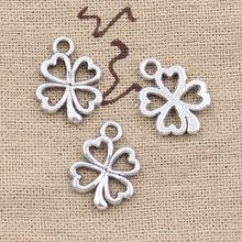 Pingente encantos flor de trevo 17x14mm, 50 peças pingente antigo fit, localização vintage tibetano de cor prata bronze, diy para pulseira colar