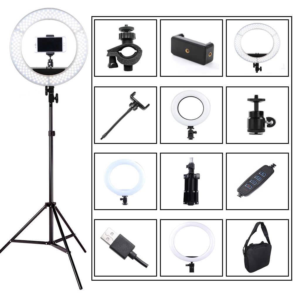 Photography Dimmable LED Selfie Ring Light Youtube Video Live 3200-5500k Photo Studio Light With Phone Holder USB Plug Tripod