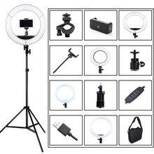 Anel com iluminação ajustável de led para selfie, lâmpada com apoio para celular, usb para fotografias, vídeos e lives no youtube, luz de estúdio para fotos, 3200-5500k tripé com plugue para tripé