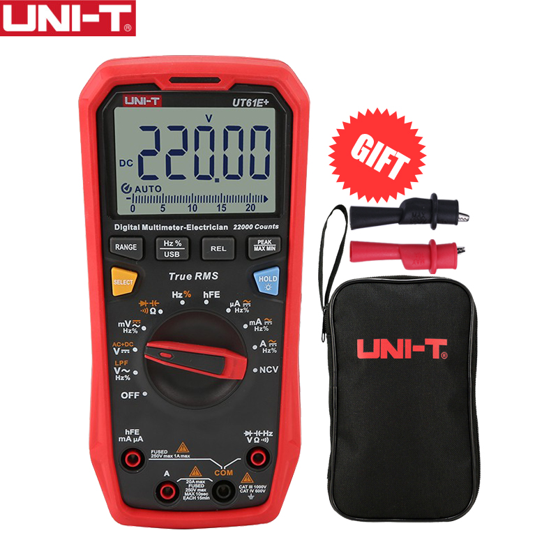 UNI-T UT61E  1000V 20A Digital Multimeter 22000 Counts Display NCV hFE Auto Range Voltage Current High Precision Tester USB