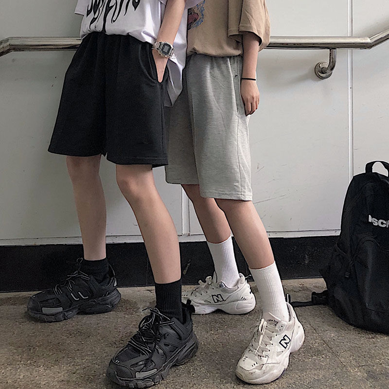 2020 Women Five Pointed Shorts Solid Black Grey Wide short Pants Unisex Students Casual Oversized Streetwear Hip Hop Punk Style 3