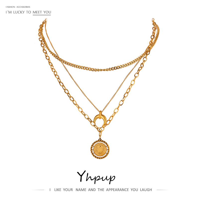 Yhpup Statement Lion Horns Animal Pendant Necklace Fashion 18 K Metal Stainless Steel Chain Choker Necklace Jewelry Gift 2021