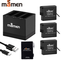 Mamen 3pcs Gopro 501 Go pro AHDBT 501 Digital Battery + Type C Charger for GoPro Hero 5 6 7 Black Sports Action Camera Battery