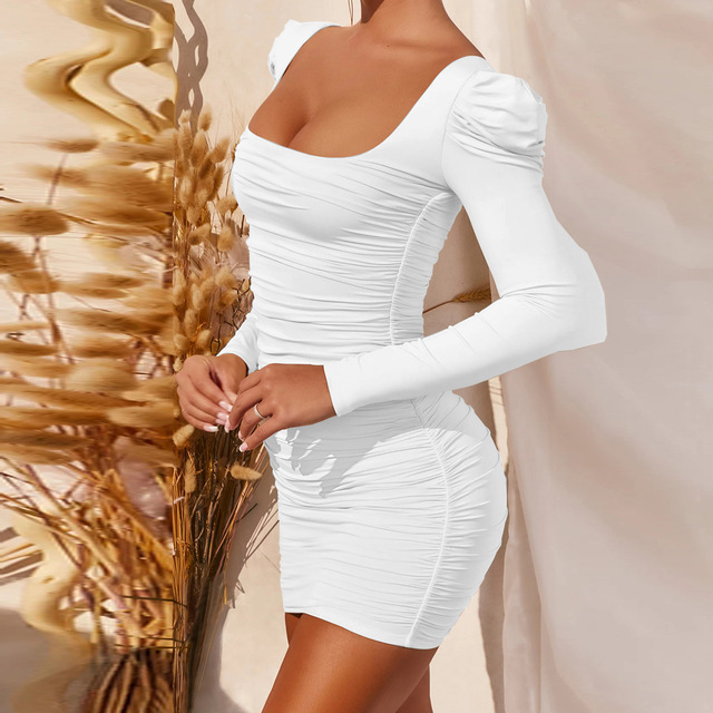 Long Sleeve Square Neck Spring Summer Black Wrap Ruched Bodycon Dress Women Sexy Backless White Elegant Short Mini Party Dresses 3