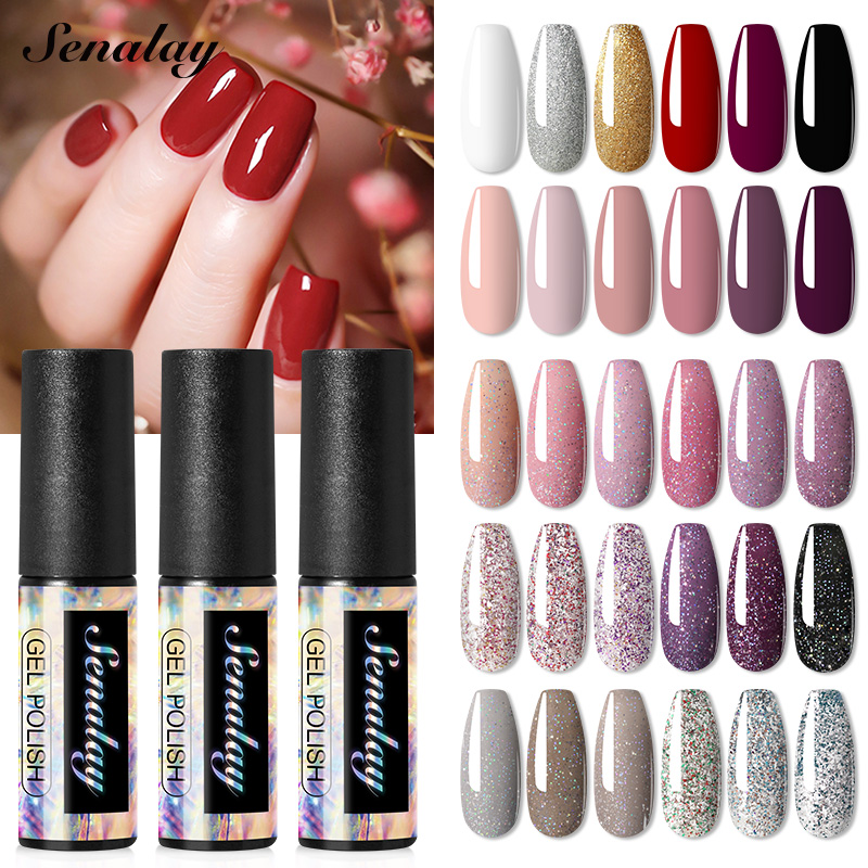 Senalay Gel Nail Polish Manicure Set Nail Gel For Extention UV LED Base Top Coat For Nail Art Painting Gel Varnishes