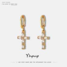 Yhpup Trendy Shining Cubic Zirconia Cross Geometric Dangle Earrings Copper 16 K Golden Statement Brincos for Women New