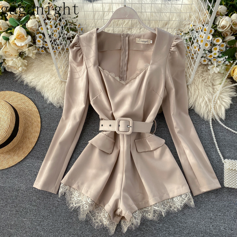 Gaganight Vintage Solid Women Elegant Jumpsuit Lace Long Sleeve V Neck Playsuit Short Jumpsuits Office Lady Korean with Sash