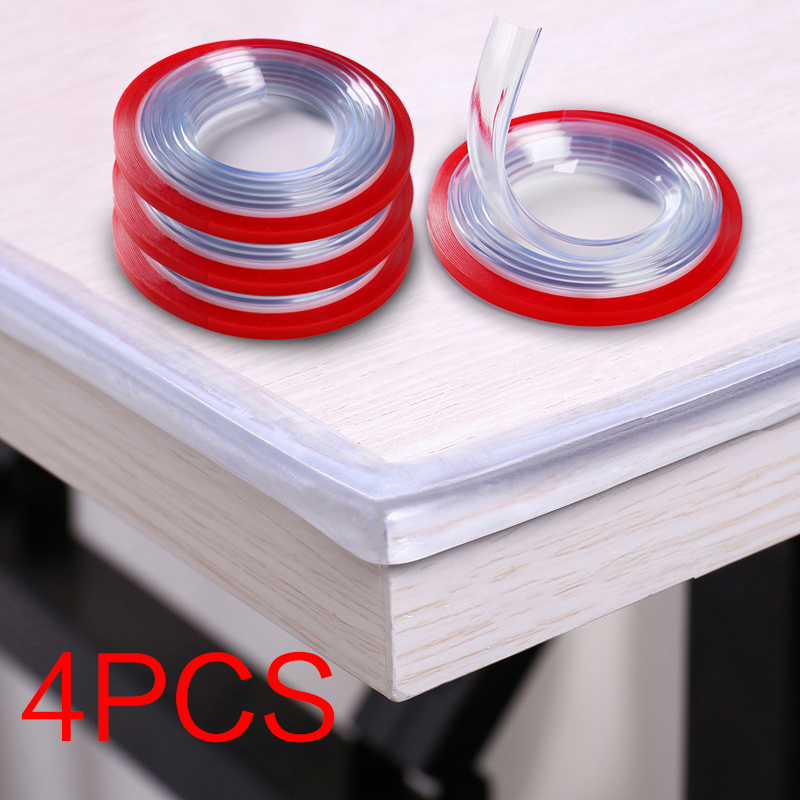 4pcs Baby Safety Table Desk Edge Transparent Edge Corner Protection Strip Baby Collision Proof Edge Guards Soft Softener Bumper