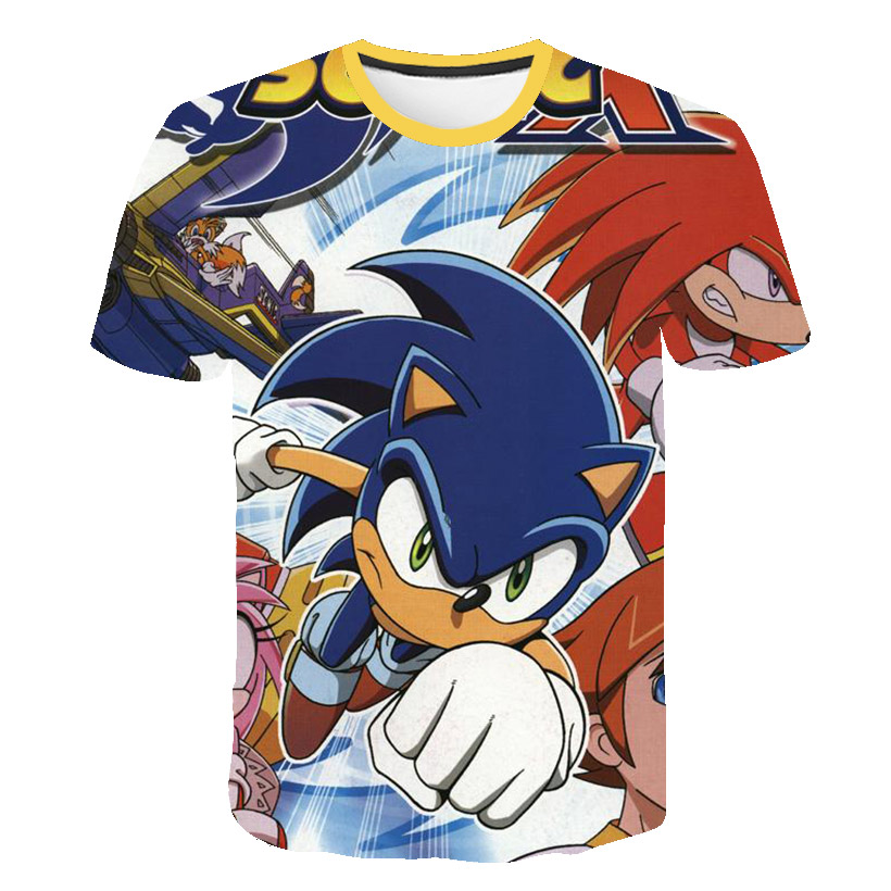 Boys Cartoon supe Sonic Hedgehog Print Clothes Girls 3D Graffiti T-shirt Streetwear Children 2021 Summer Clothing Kids Tees Baby