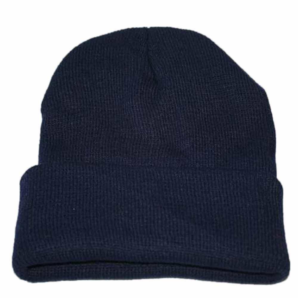 Осенне-зимняя одежда из шерсти смеси мягкий теплый вязаный Кепки Повседневное Chapeau унисекс сапоги высотой выше колена Вязание шапка в стиле хип-хоп кепка, теплая зимняя Лыжная шапка# Y5 - Цвет: Dark Blue