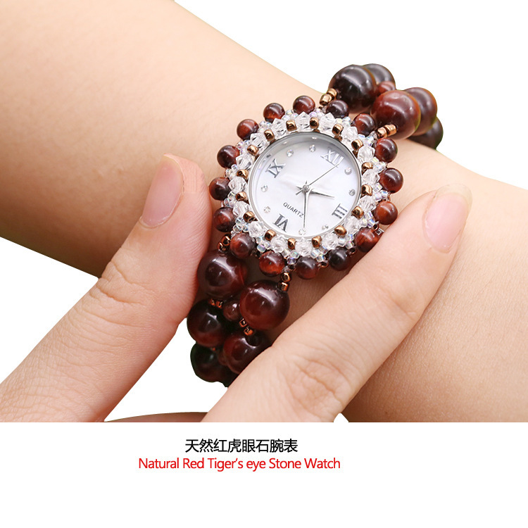 2020 Natural Stone Waterproof Red Tiger's Eye Bracelet Watches For Women Fashion Table Speed Sell Tong Source Women's Watch