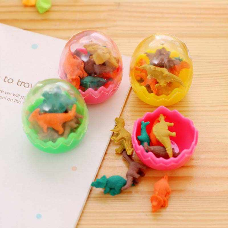 8pcs מיני בעלי החיים דינוזאור ביצי עיפרון גומי Eraser חידוש צעצועי סטודנטים חינוכיים מכתבים מתנה