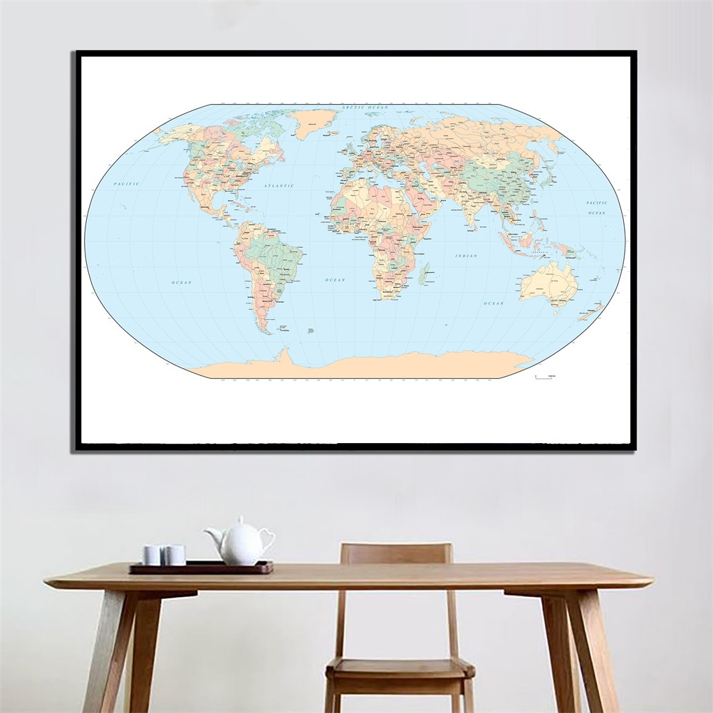 60x90cm HD World Map Vector Illustration Creative Wall Decor Crafts For Home Living Room Wall Decoration