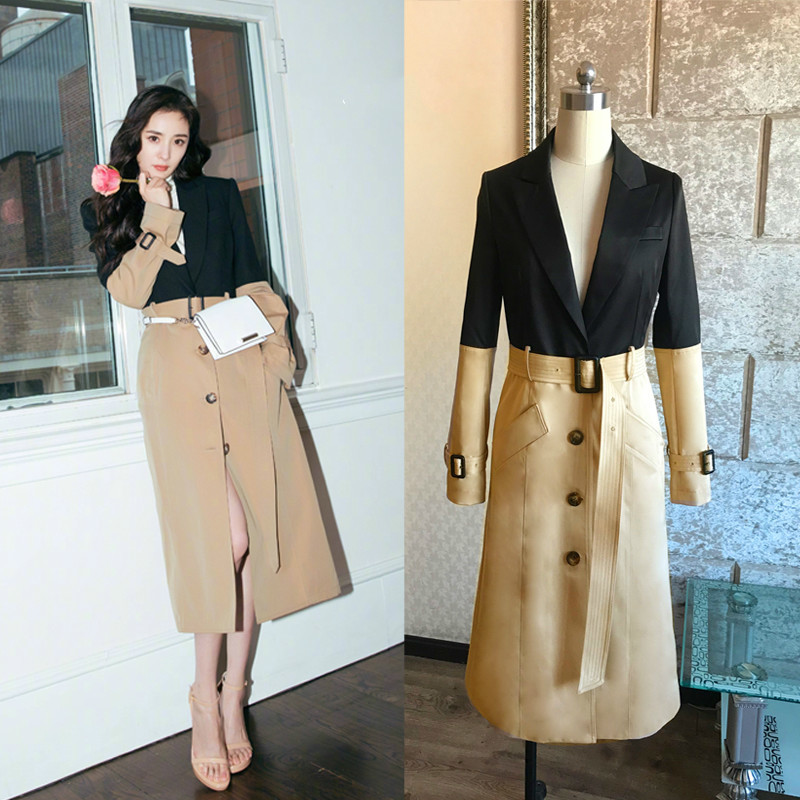 LANMREM 2019 Star With The Same Paragraph Stitching Slim   Trench   Coat Long Section Was Thin Windbreaker Korean Version 19B-a476