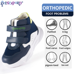 Princepard Orthopedic Shoes Korean Sneakers for Children Kids Sprots Shoes Spring Autumn White Navy Color 19-37 European Size