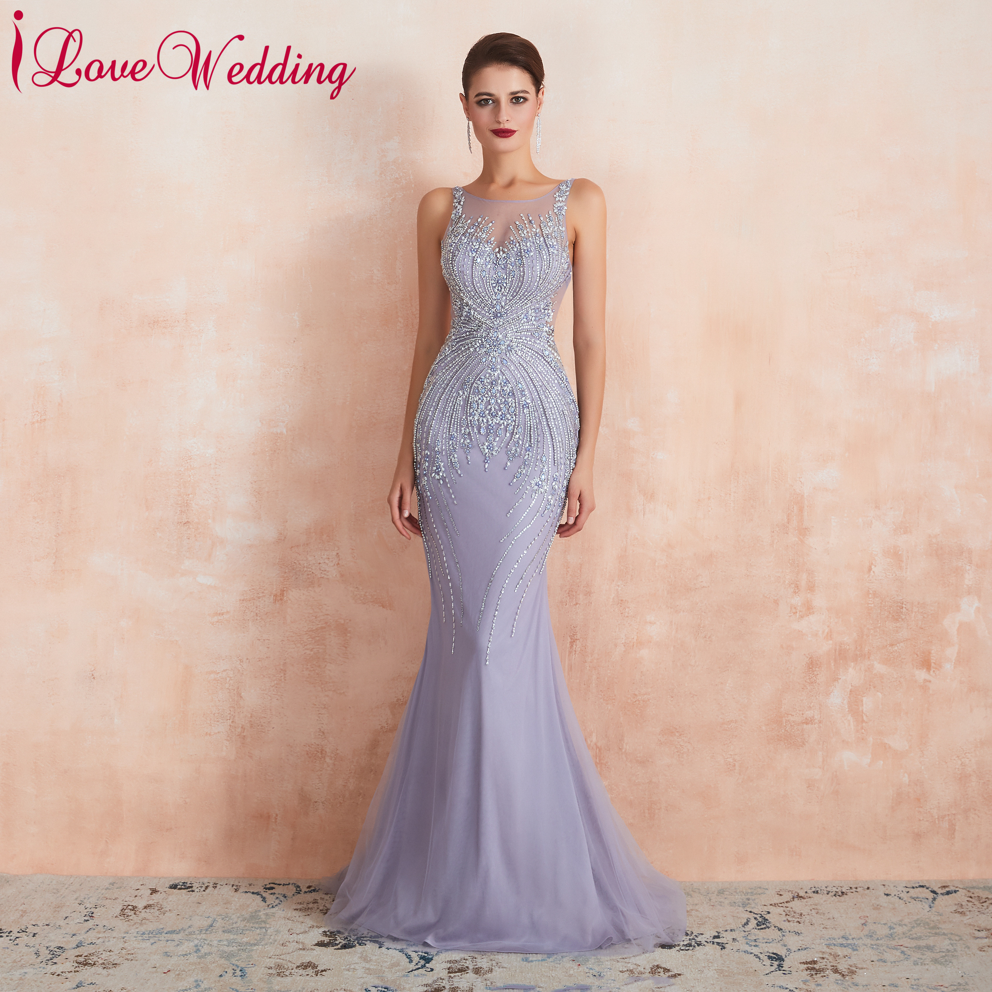 Mermaid Evening Dress 2019 Sleeveless Robe De Soiree Lilac Heavy Beaded Luxury Formal Evening Dress For Party Gown