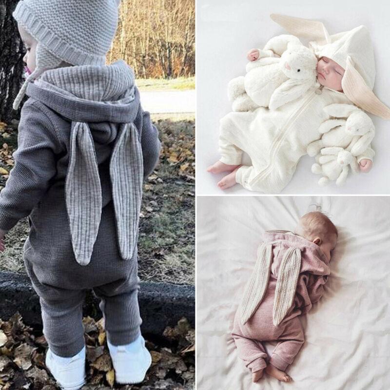 Winter   Rompers   Warm Rabbit Ear Baby   Romper   Fleece Jumpsuit Snow Wear Snowsuit Cute Infant Clothing Newborn Boys Grisl Clothes