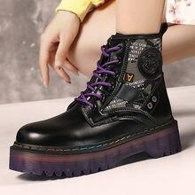 Женские ботинки на толстой подошве зимняя обувь платформе боевые