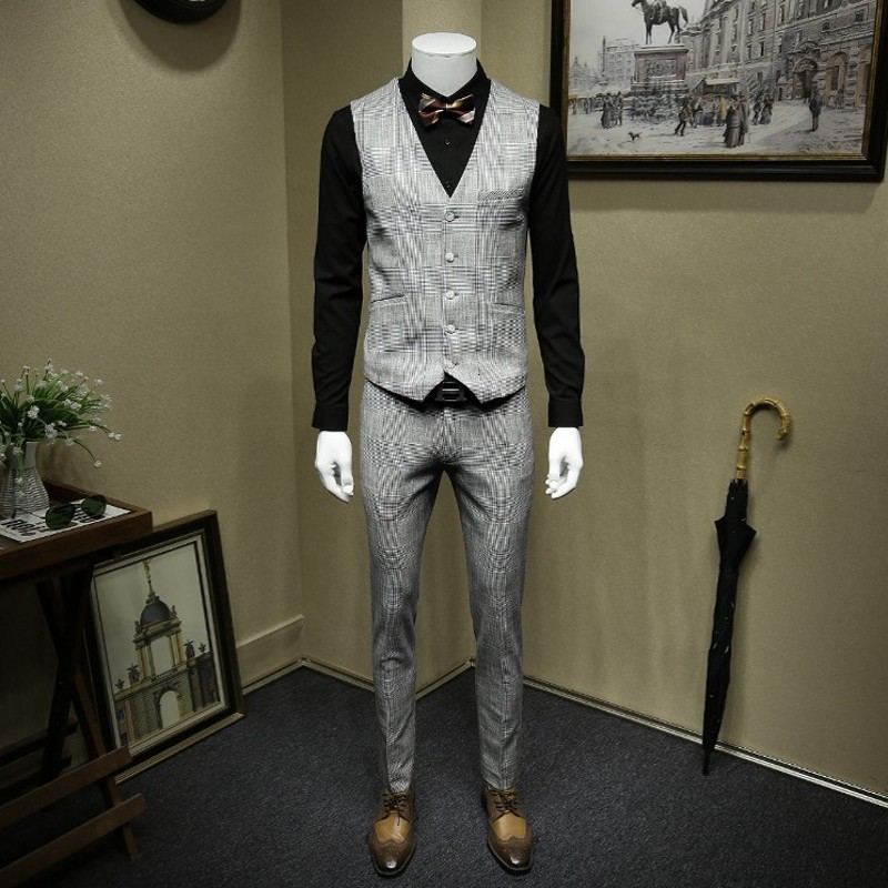 England Style White And Black Plaid Business Gentleman Blazer Suit Vintage Double Breasted Wedding Dress Smart Casual 3Pcs Sets