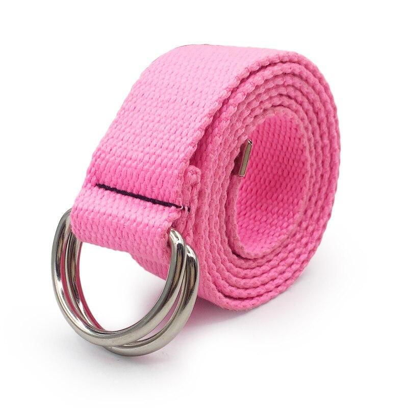 130 см модный нейтральный нейлоновый холщовый ремень с d-образным кольцом и двойной пряжкой, студенческий ремень, Холщовый пояс с двойной пряжкой - Цвет: Style 2 Pink