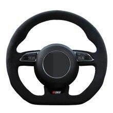 Housse de volant de voiture en cuir suédé véritable, pour Audi S1 8X S3 8V Sportback S4 B8 Avant S5 8T S6 C7 S7 G8 RS Q3 8U SQ5 8R