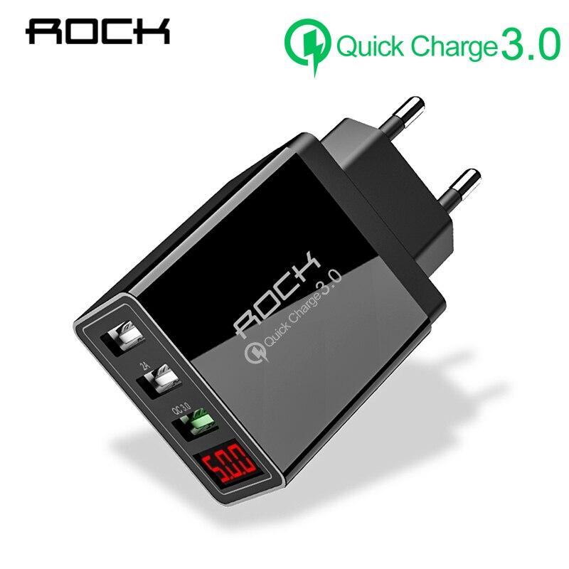 Charge rapide 3.0 chargeur USB universel 3A LED affichage EU 3 ports chargeur de téléphone chargeur mural de Charge rapide pour iPhone Samsung