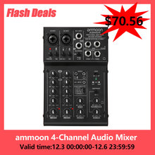 ammoon 4-Channel Mini Mixing Console Digital Audio Mixer 2-band EQ Built-in 48V Phantom Power 5V USB Powered mixer audio hot!!