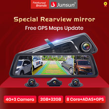 "Junsun 10"" 4G 4 Cameras Car Dash Cam ADAS Android Car DVR Video Recorder 1080P Rearview mirror with GPS Navigation Dashcam(China)"