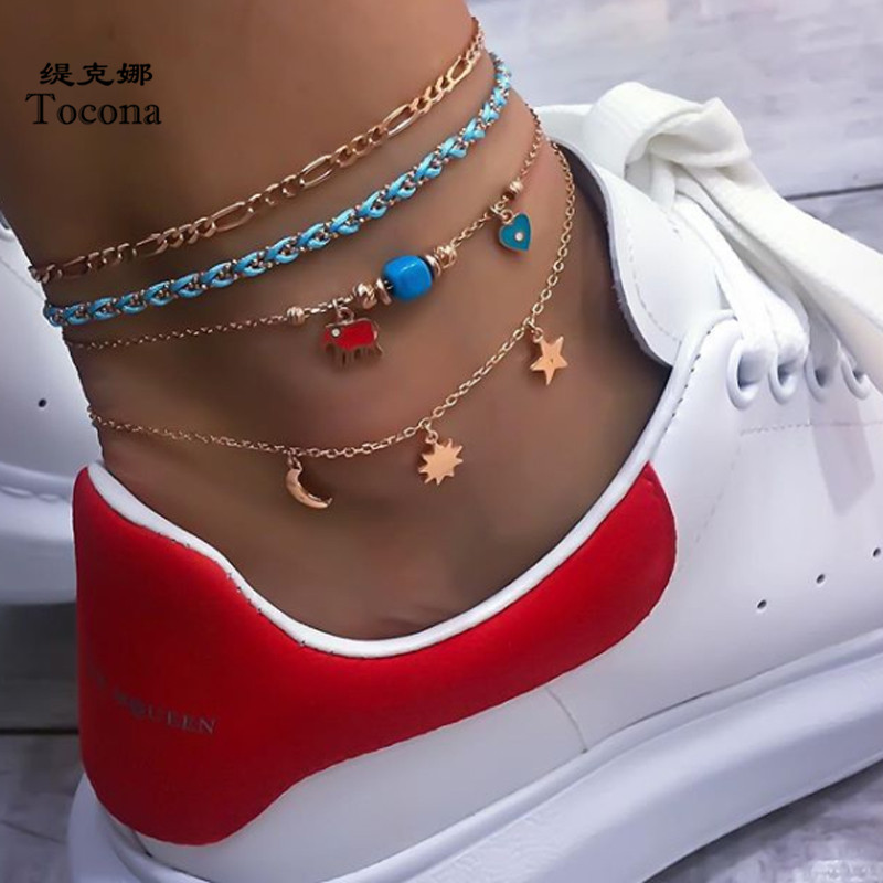 Tocona 4pcs/sets Gold Anklets Charms Heart Elephant Moon Sun Star Geomerty Foot Chain Beach Summer Jewelry Women Accessorie 8499