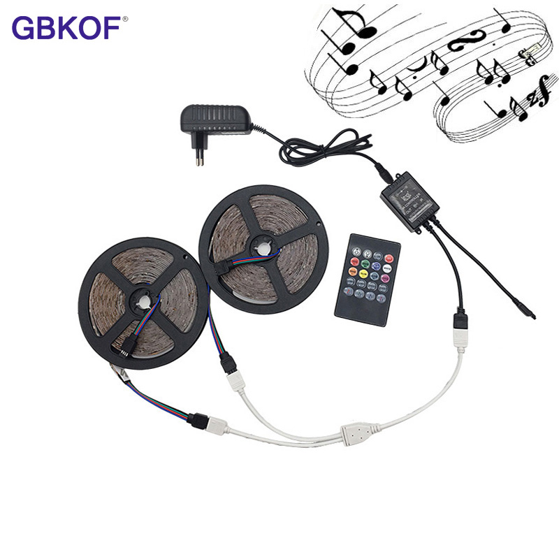 RGB LED Strip 3528 Non Waterproof 5M 10M Set Fita Led Light Birthday Present Diode Led Tape Set+Music Controller+DC12V Power Ada