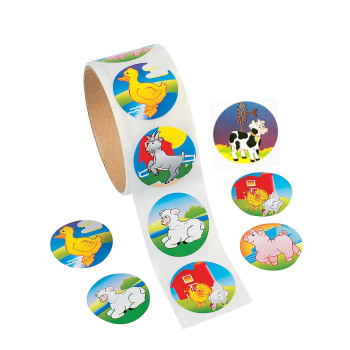 100Pcs 38mm Cartoon Stickers Farm Animal with Large Size Reel Sticker Farm Animal Cock Cow Duck Sheep & Pig Adhesive Paper недорого