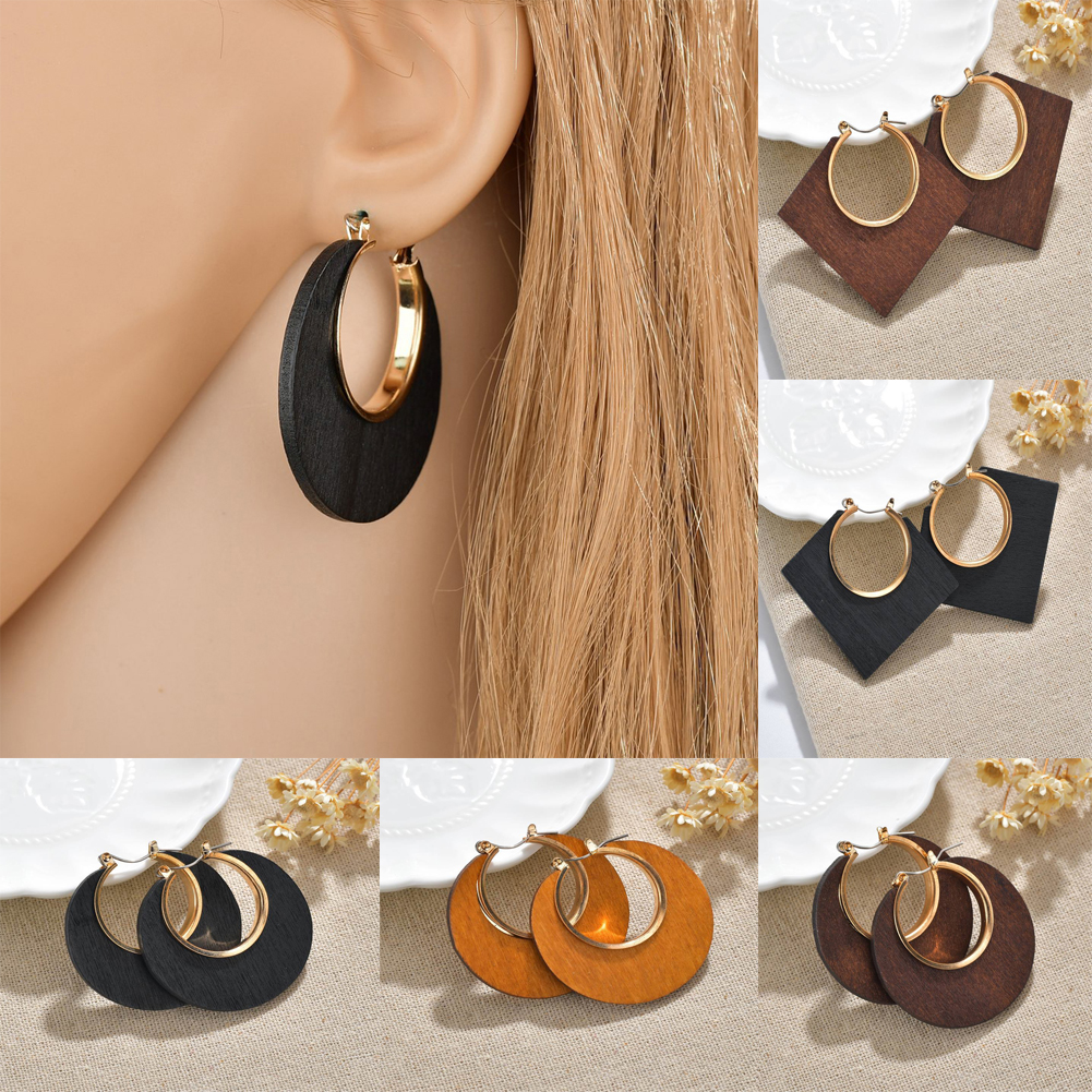 New Square Round Geometric Dangle Earrings Wooden Earrings Fashion Handmade Large African Wooden Earrings For Women  Jewelry