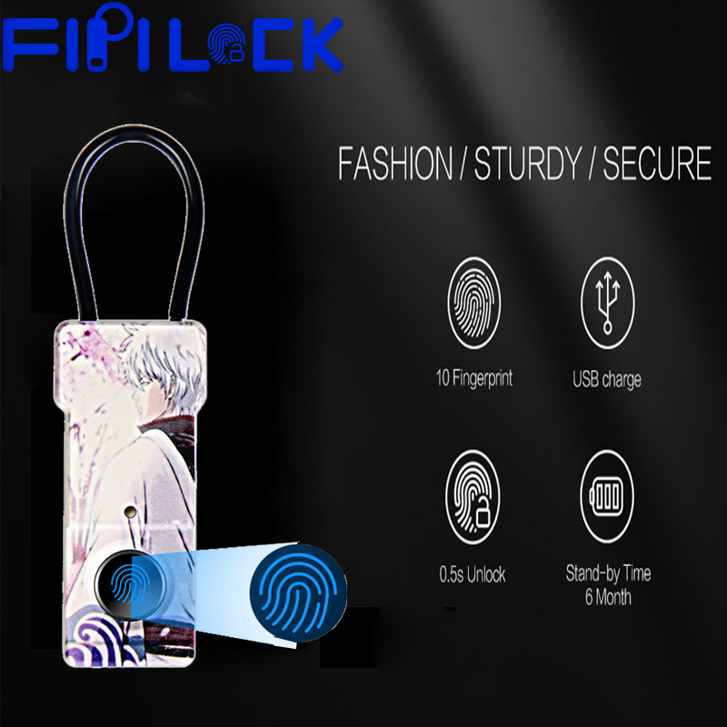 Fipilock Fashion Smart Keyless Fingerprint Padlock Usb Rechargeable Waterproof Anti-Theft Security Padlock Door Luggage Lock