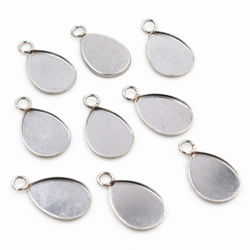 ( No Fade ) 20pcs 10x14mm Inner Size Stainless Steel Material Drop Style Cabochon Base Cameo Setting Pendant Tray (T7-48)