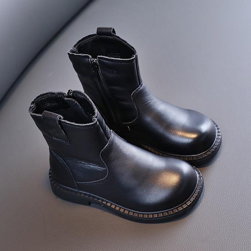 botas casuais de couro genuino para outono 01
