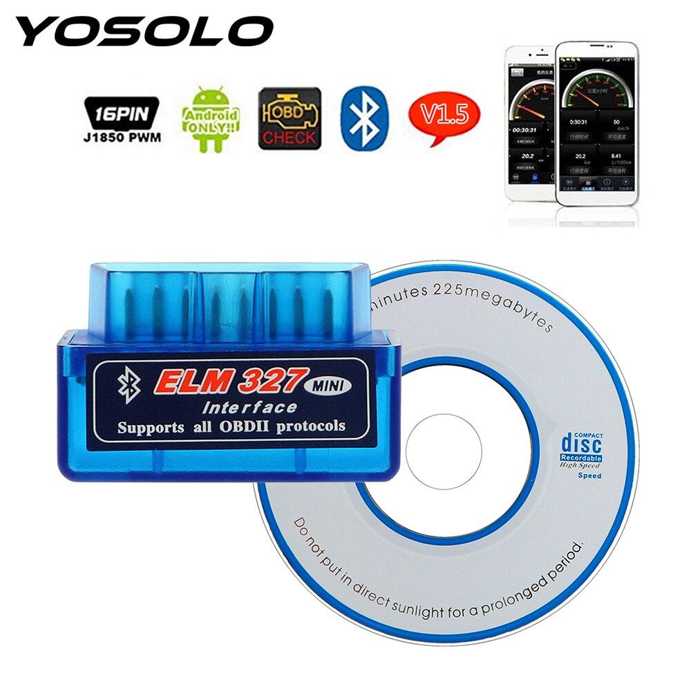 Herramienta de diagnóstico de coche YOSOLO para el protocolo OBDII para lectores de código Android/Symbian ELM327 Bluetooth V2.1/V1.5 OBD2 herramientas de escaneo Nuevo ELM327 USB OBD2 herramienta de diagnóstico de Auto coche ELM 327 V1.5 interfaz USB OBDII CAN-BUS escáner Venta caliente ~