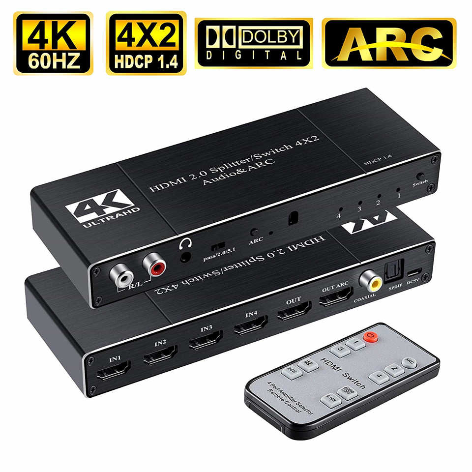 2019 Best 4K@60Hz HDMI 2.0 Switch Remote 4x2 HDMI Switcher Audio Extractor With ARC & IR Switch HDMI 2.0 For PS4 Apple TV HDTV