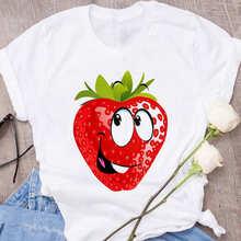 T-shirt damski śliczny truskawkowy jabłko z zabawnym nadrukiem T-shirt moda na co dzień biały T-shirt Harajuku graficzny T-shirt z krótkim rękawem tanie tanio Poliester Modalne Topy Tees REGULAR Suknem Cartoon WOMEN NONE O-neck